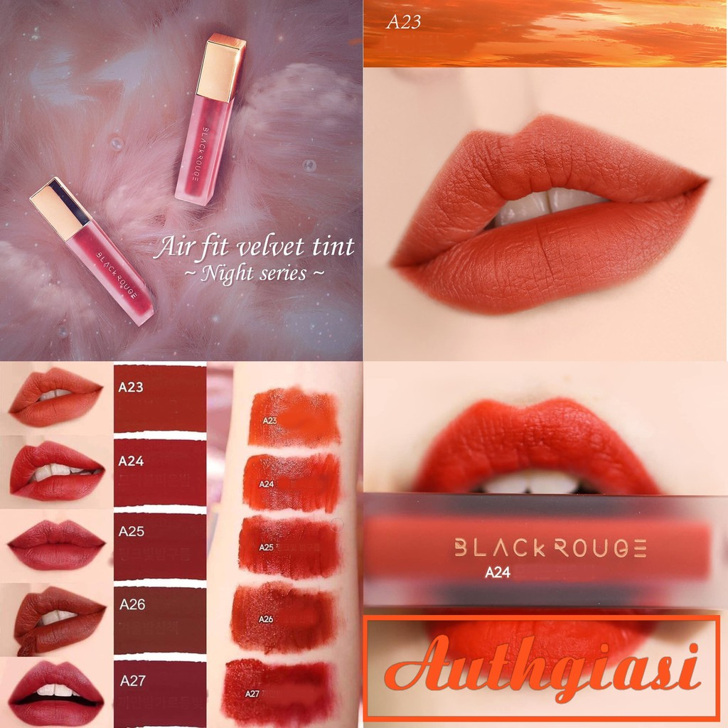 Ver 5 Night Series _ Son Kem Lì Black Rouge Air Fit Velvet Tint A23-A27 [Mới 2019] Siêu Hot