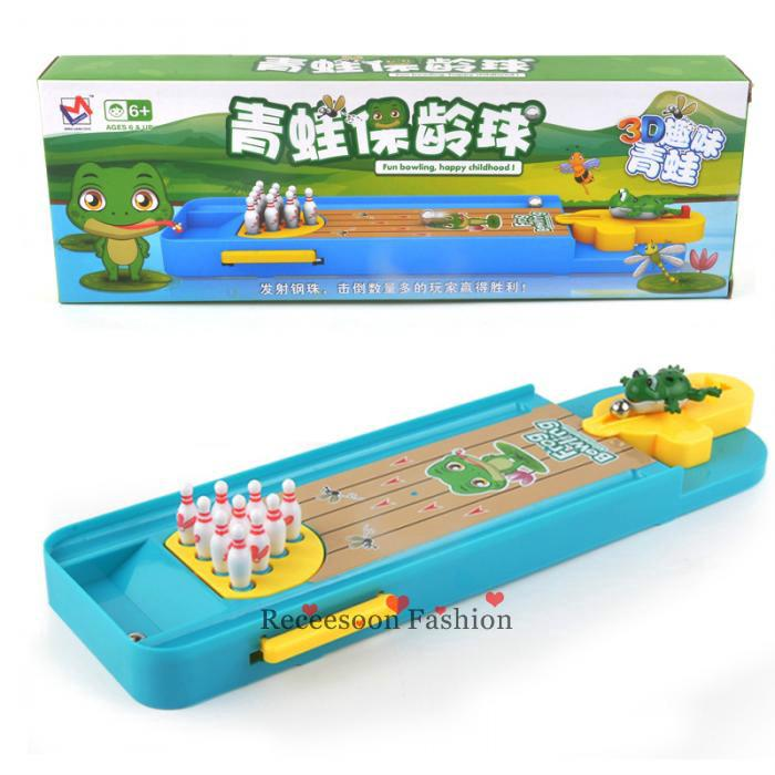Mini 3D Frog Bowling Table Games Launcher Toy For Kids Interaction Toys Gifts