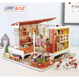 Nhà búp bê Tự làm bằng gỗ LIKE A DREAM [Nhà có nội thất & đèn led ] Tặng CÓT NHẠC + KHUNG MICA + dụng cụ