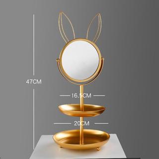 Gương Trang Điểm Vàng Tai Thỏ 2 Tầng siêu sang