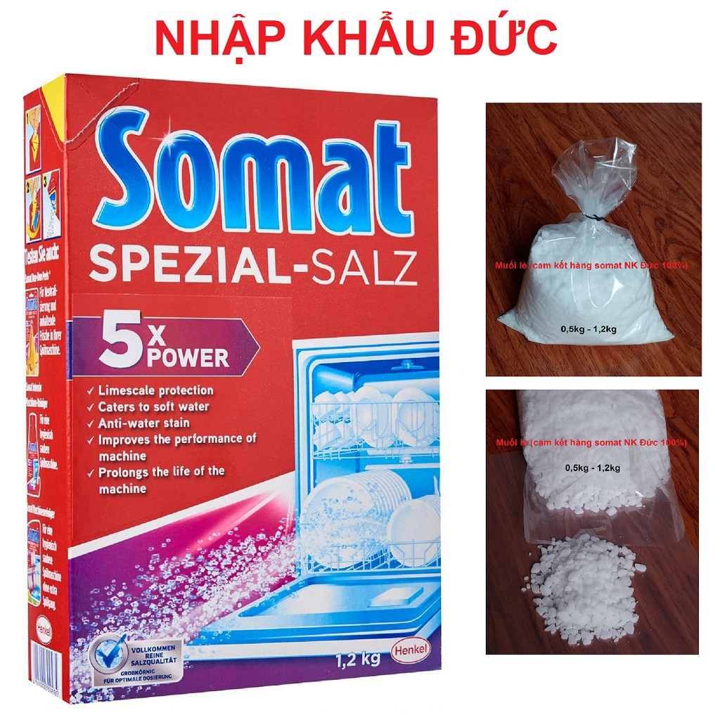 Muối Somat 1,2kg NK Đức cho máy rửa chén bát