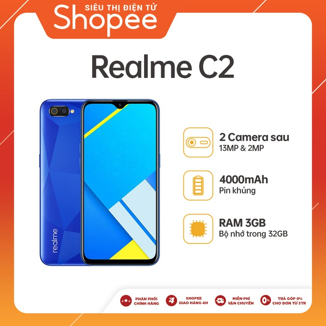 Điện thoại Realme C2 3GB/32GB - Hàng Chính