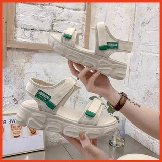 Giày Sandal Nữ Học Sinh Quai Hậu Phối Màu Cá Tính Dép Sandal Nữ Đẹp Phong Cách Hàn Quốc Đi Học, Đi Chơi (Tem Đen) thumbnail
