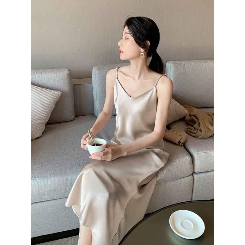 Váy 2 dây, đầm xuông - chất lụa trơn basic nữ