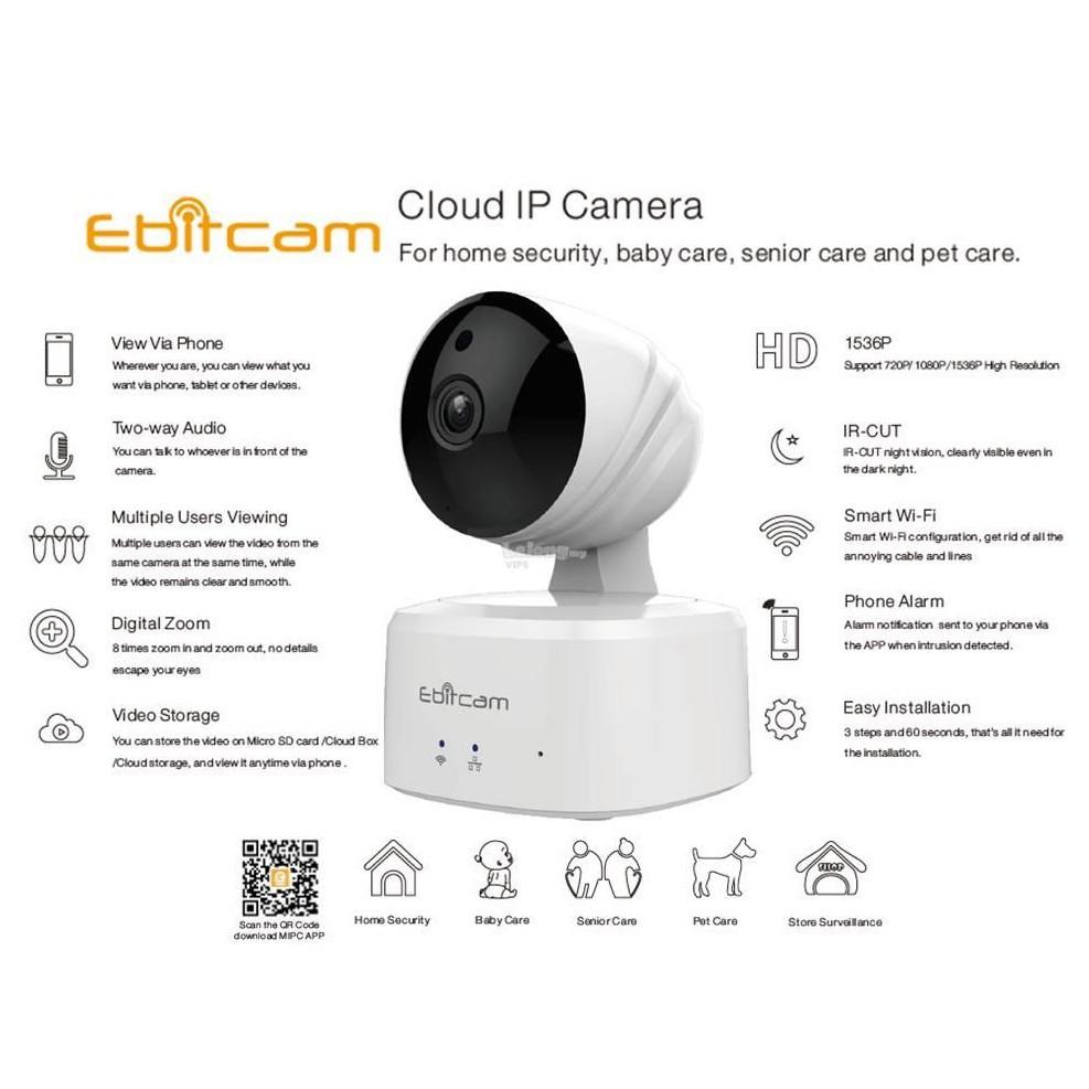 [Xã Kho] Camera Wifi Ebitcam E2 720P - Camera Không Dây Ebitcam Đời Đầu, Cực Bền, Siêu Nét, kèm thẻ 32GB/64GB/128GB