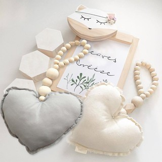 Baby Decoration Pillow Toys Heart Wooden Beads Strings Toys Kids Baby Room Wall