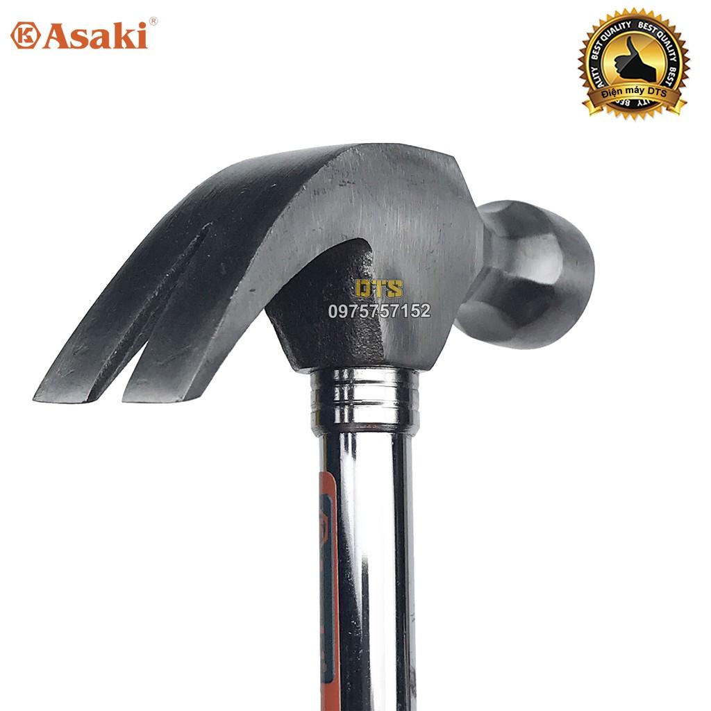 Búa sừng dê, búa nhổ đinh cán thép cứng 8oz/ 227g Asaki AK-9500 – Đầu đóng đinh đầu tròn thép siêu cứng