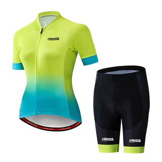 bicicletta 2021 NEW 2021 Limited Sale omen's Short Sleeve Cycling Jersey with Shorts Spandex Polyester Black / Green Gradient Bike Clothing Suit Breathable 3D Pad Quick Dry Ultraviolet Resistant Sweat-wicking Sports Solid Col