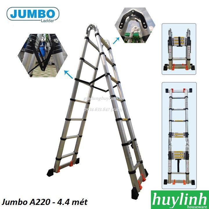 Thang nhôm rút đôi chữ A Jumbo A220 - 4.4 mét