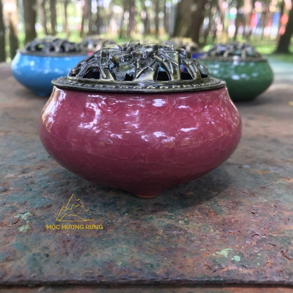 lư gốm sứ xông nhang nụ Trầm Hương, nhang khoanh