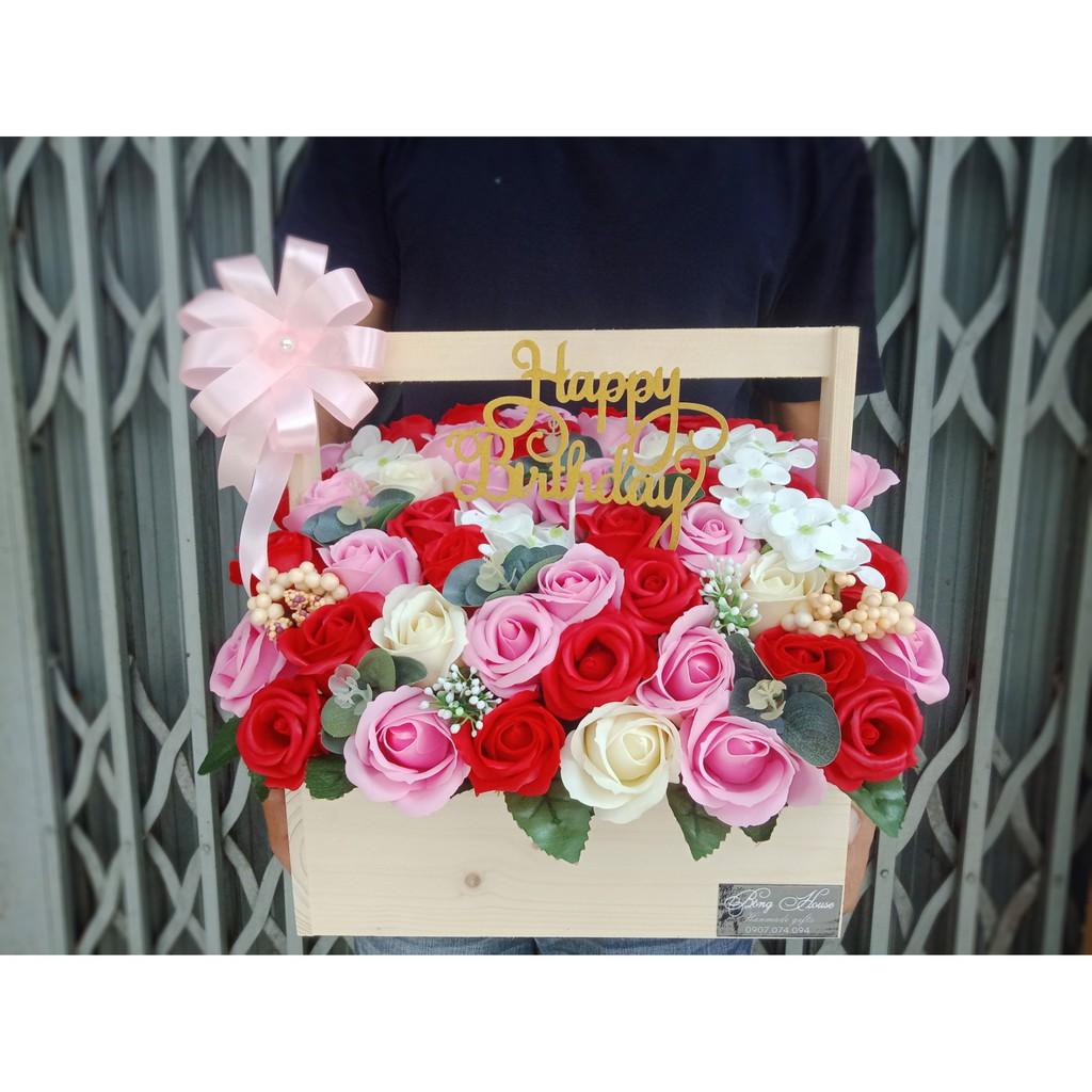 Chậu hoa hồng sáp (chậu gỗ lớn, nhiều mẫu)