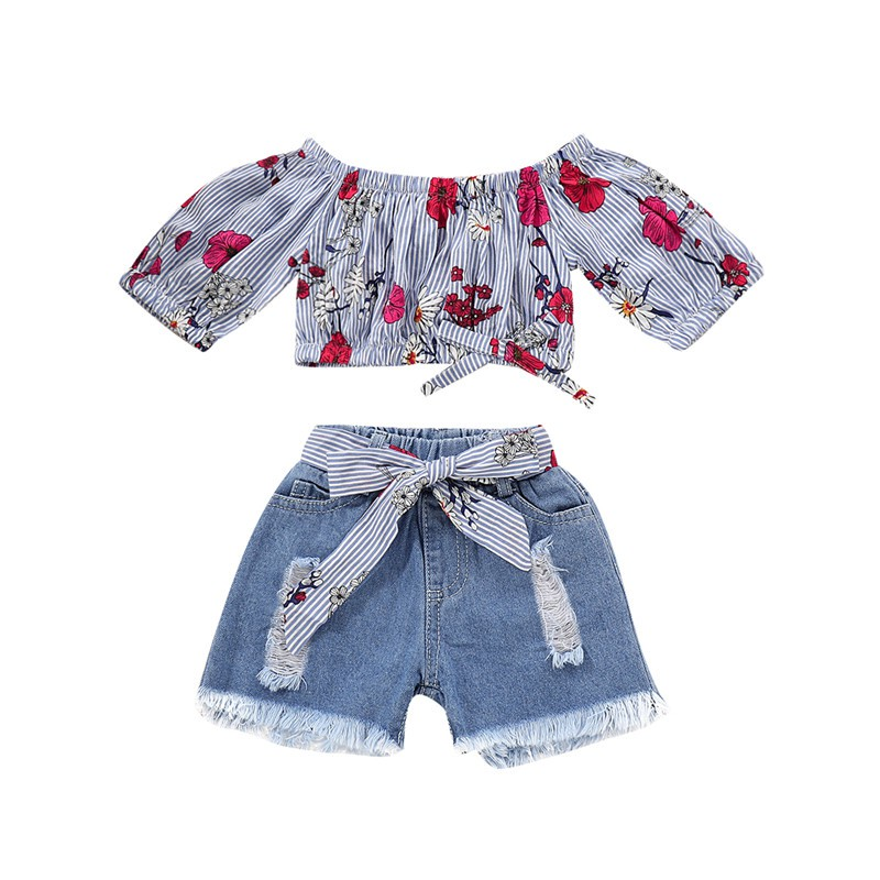 Kids Baby Girl Floral Print  Long Sleeve Top + Bowknot Denim Short 2PCS Fashion Clothes Set