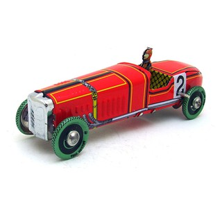 Vintage Wind Up Tin Toy Racing Race Car Racer Driver Clockwork Mechanical