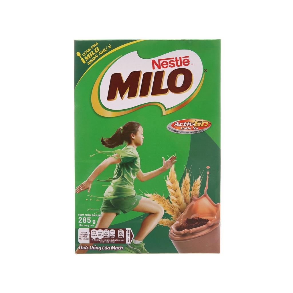 hộp Giấy Thức uống lúa mạch Milo Active Go 285g