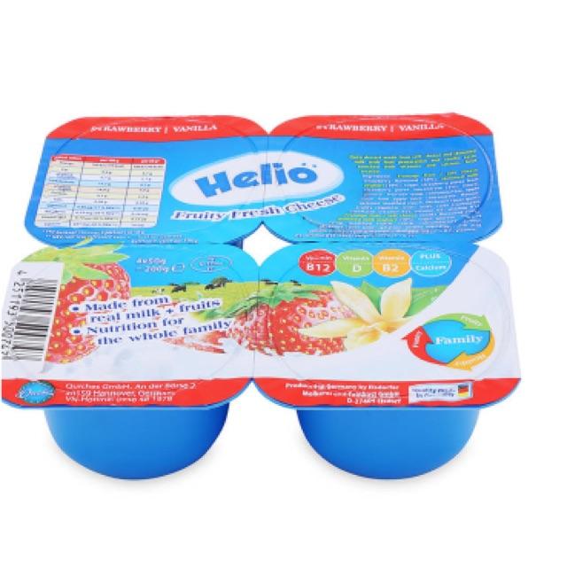 Phô mai tươi trái cây Helio vị vani - dâu 4 hộp *50g