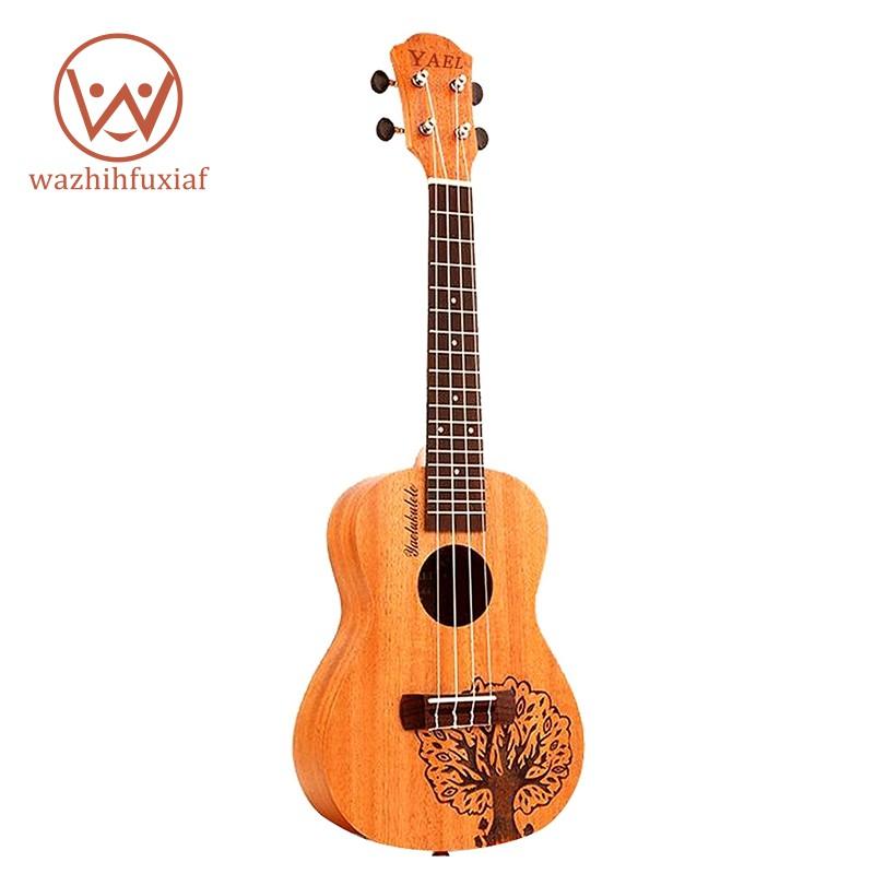 Đàn ukulele 4 dây 23 inch bằng gỗ hồng sắc in hình cây