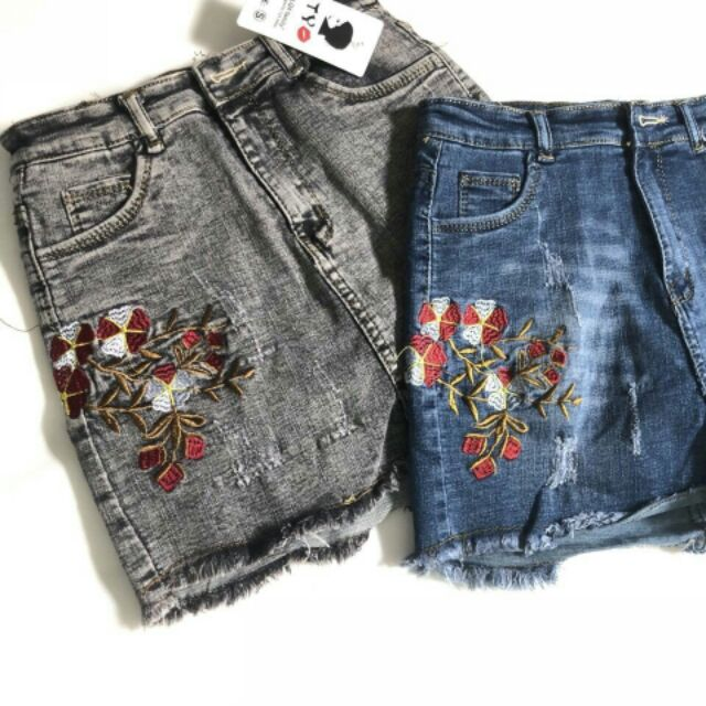 Short váy jean thêu