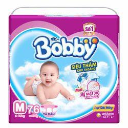 Tã dán Bobby siêu mỏng M76, L68, XL62