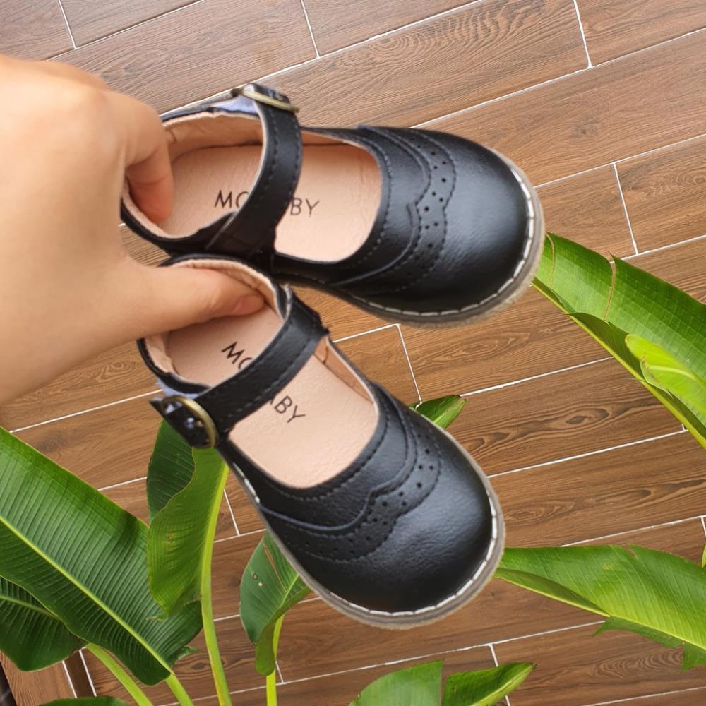 Giày Bé Gái - Giày búp bê cho bé gái phong cách Vitage Hàn Quốc da mềm có quai dán V181
