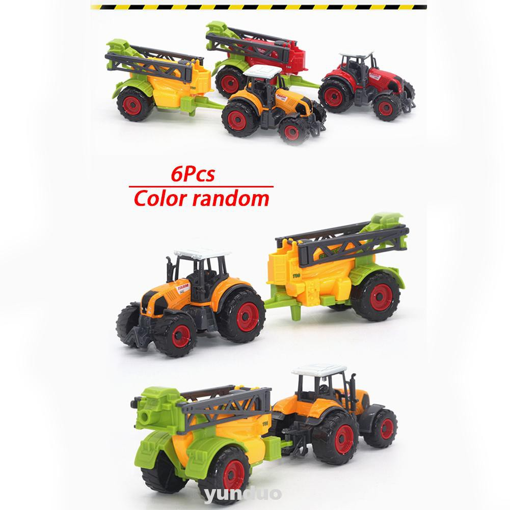 6pcs 1:64 Scale Diecast Model Planters Trailers Play Set Collectible Eco-friendly Paint Children Gift