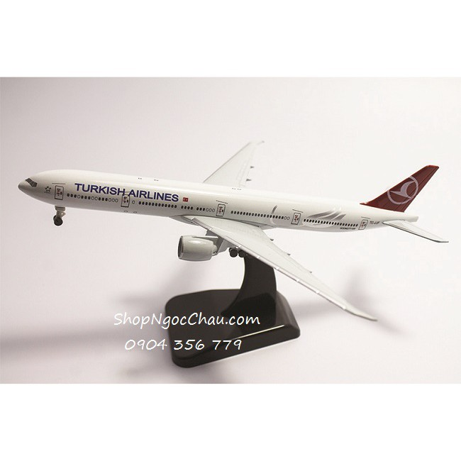 Mô hình máy bay B777-300ER Turkish Airlines 18cm có bánh xe