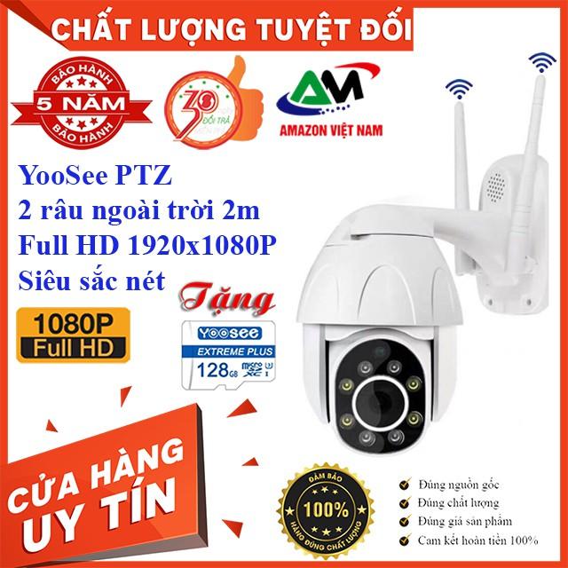 [Tặng thẻ nhớ 128GB] Camera Wifi PTZ QUAY 360 YooSee 2 râu 8 led ngoài trời có mầu ban đêm 2.0Mpx Full HD
