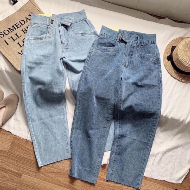 Quần slim baggy jeans hai nút đôi đai dày lưng cao ulzzang kèm ảnh thật