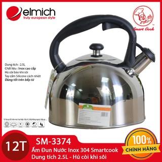 Ấm Đun Nước Inox 304 Elmich Smartcook 2.5L SM3374 Dùng Bếp Từ - hàng phân phối chính hãng. BH 12 tháng