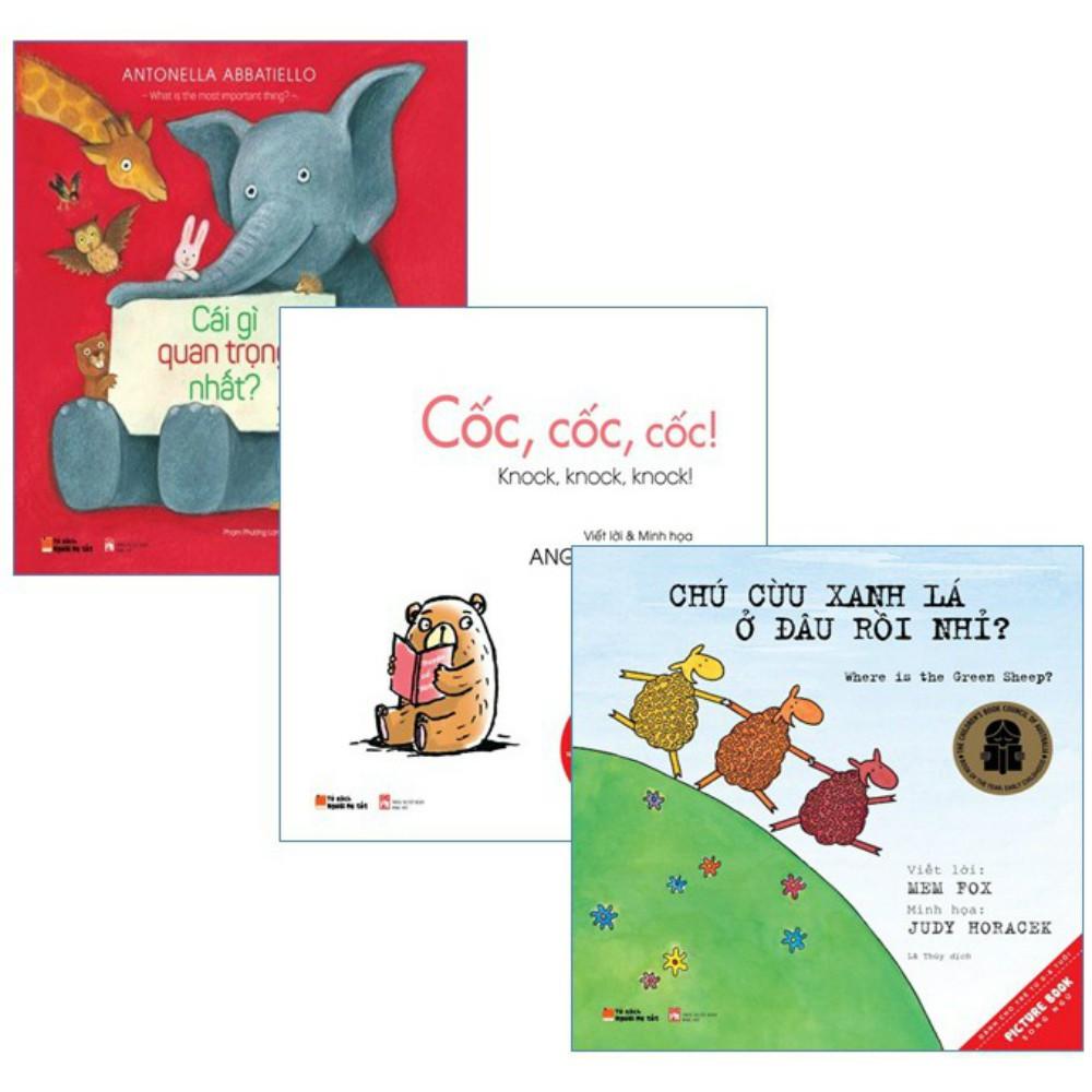Sách - Combo 3 quyển Picture Books Song Ngữ: Cốc, cốc, cốc + Chú cừu xanh lá ở đâu rồi nhỉ + Cái gì - 9937885 , 786814003 , 322_786814003 , 127000 , Sach-Combo-3-quyen-Picture-Books-Song-Ngu-Coc-coc-coc-Chu-cuu-xanh-la-o-dau-roi-nhi-Cai-gi-322_786814003 , shopee.vn , Sách - Combo 3 quyển Picture Books Song Ngữ: Cốc, cốc, cốc + Chú cừu xanh lá ở đâu r