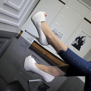 Giày Cao Gót Nữ Màu Trắng Quyến Rũ