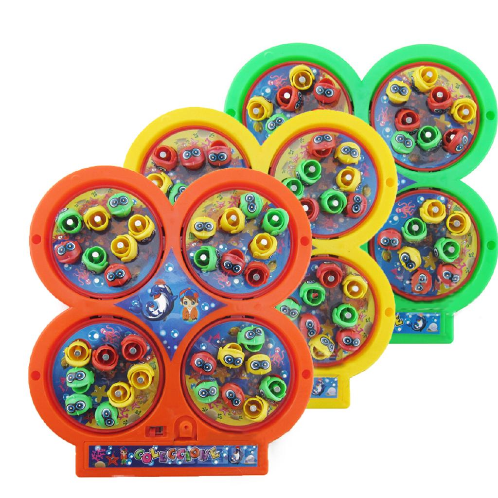 4-plates Magnetic Toy Set Kids Electric Rotating Fishing Game Music Educational