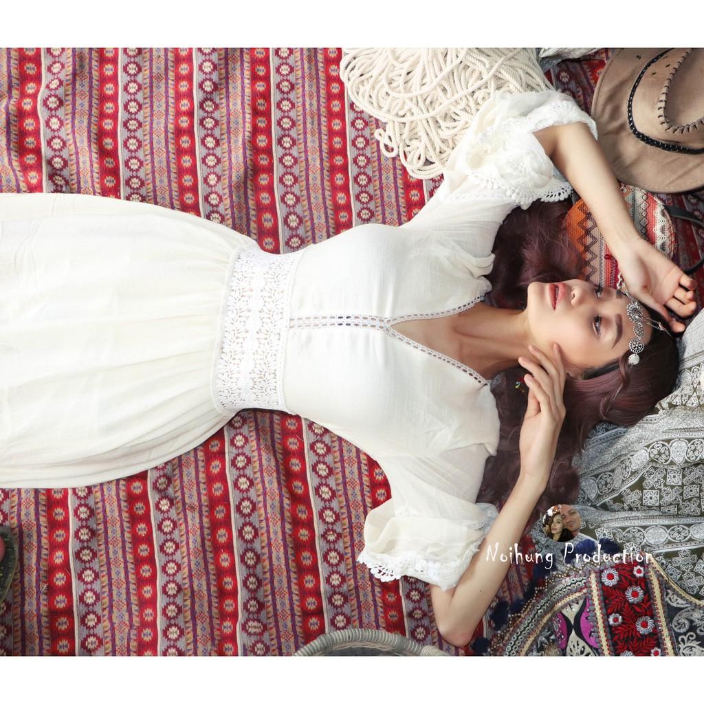 Đầm Váy Bohemian maxi vintage trắng dáng xòe dài suông rộng đi biển đẹp xinh rẻ độc lạ bigsize bầu bí babydoll NH051