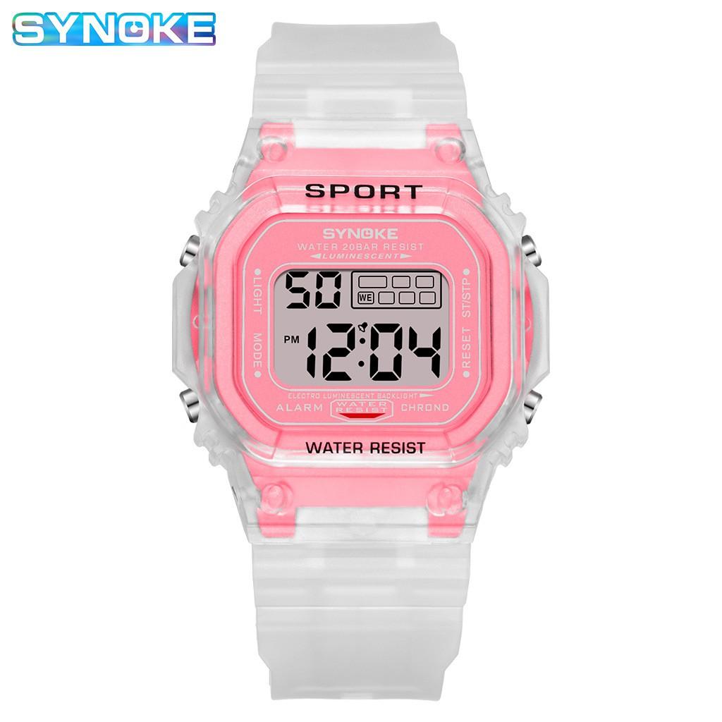 Đồng hồ điện tử thể thao thời trang unisex (nam - nữ) dây nhựa trong cao cấp Synoke PKHRSNK010