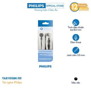Tai nghe nhét tai Philips TAE1105BK/00 - Màu đen - Hàng Chính Hãng