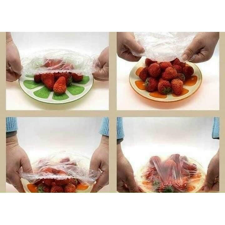 Túi 100 màng bọc thực phẩm nhựa PE trong suốt an toàn vệ sinh đa năng