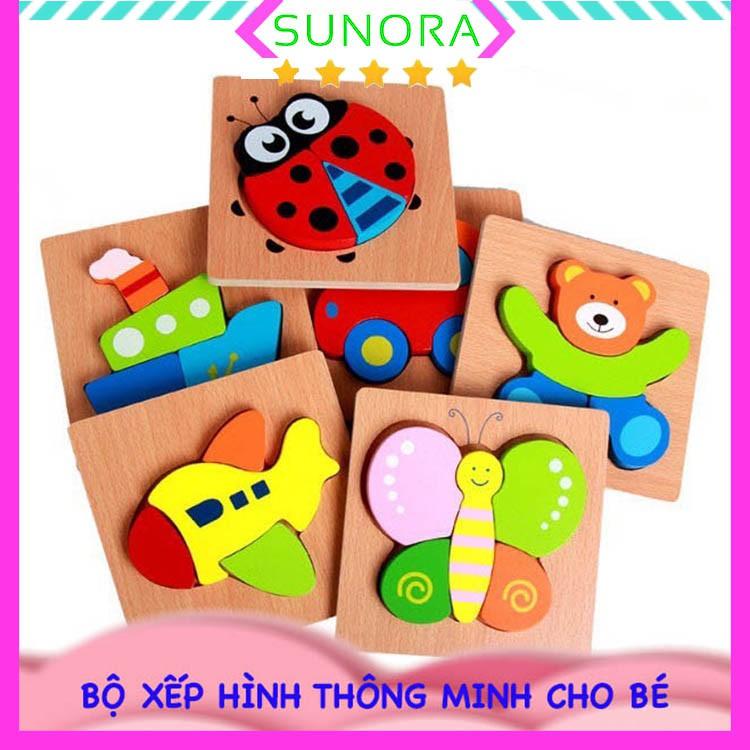 Đồ chơi xếp hình tranh ghép gỗ 3D nhiều hình ngộ nghĩnh - Phát triển trí tuệ cho bé từ 2 – 4 tuổi