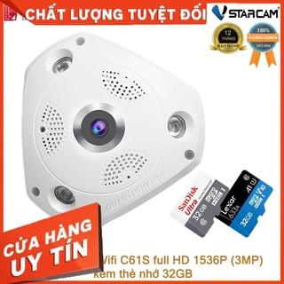 (giá khai trương) Camera Wifi IP Vstarcam C61s Full HD 1536P ốp trần, góc rộng 360 độ kèm thẻ 32GB