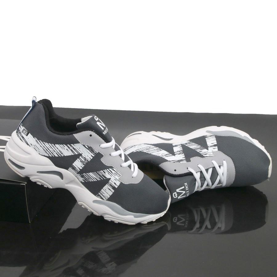 Giày thể thao xám M trắng thân êm đế cao su siêu bền GN426 Gấu Nâu