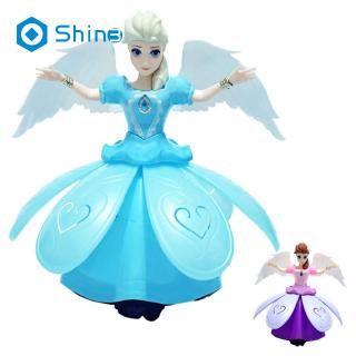 Princess Doll Toys Frozen Elsa Anna Doll With Wings Action Figure Rotating Dance Projection Light
