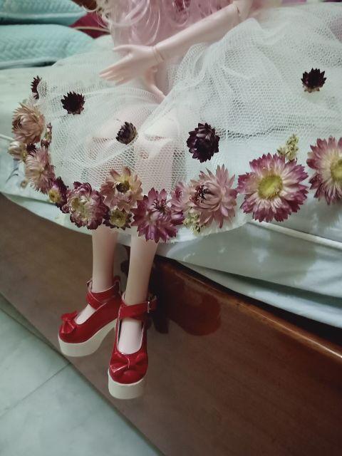 Búp bê bjd váy hoa khô tặng kèm 2 giày