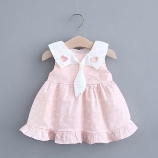 Đầm xòe không tay họa tiết chấm bi thời trang mùa hè cho bé
