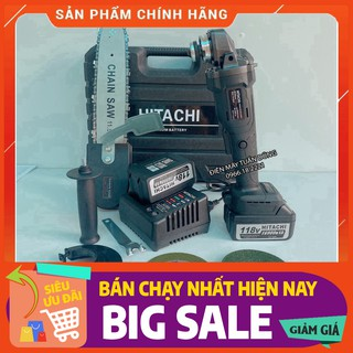 Máy mài cầm tay pin Hitachi 118V không chổi than – 20000mAh – 2 PIN – TẶNG LƯỠI CƯA XÍCH CẮT GỖ, ĐÁ MÀI, ĐÁ CẮT [CAM KẾT