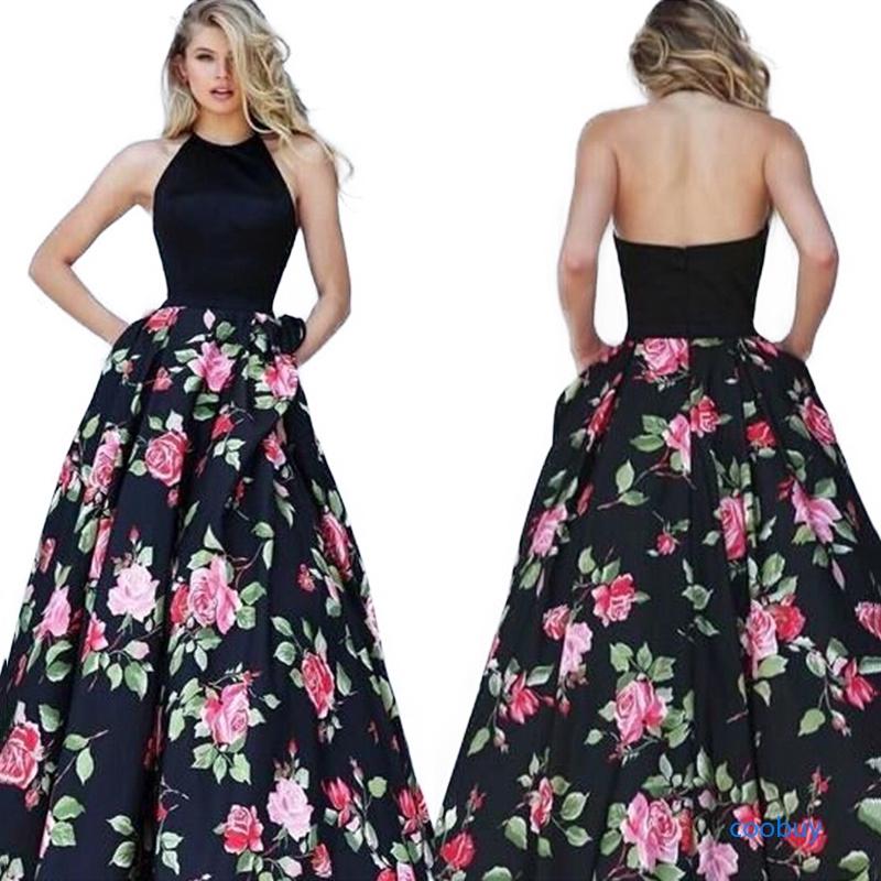 Đầm dạ hội tay dài in hoa sang trọng