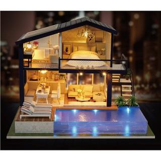 Mô hình đồ chơi nhà búp bê DIY – Biệt thự nghỉ dưỡng, có hồ bơi (TDMW10)