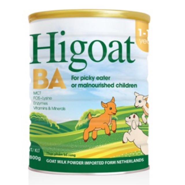 Sữa Dê Higoat BA (800g) dành cho trẻ biếng ăn, suy dinh dưỡng 1-10 tuổi (date 2020)
