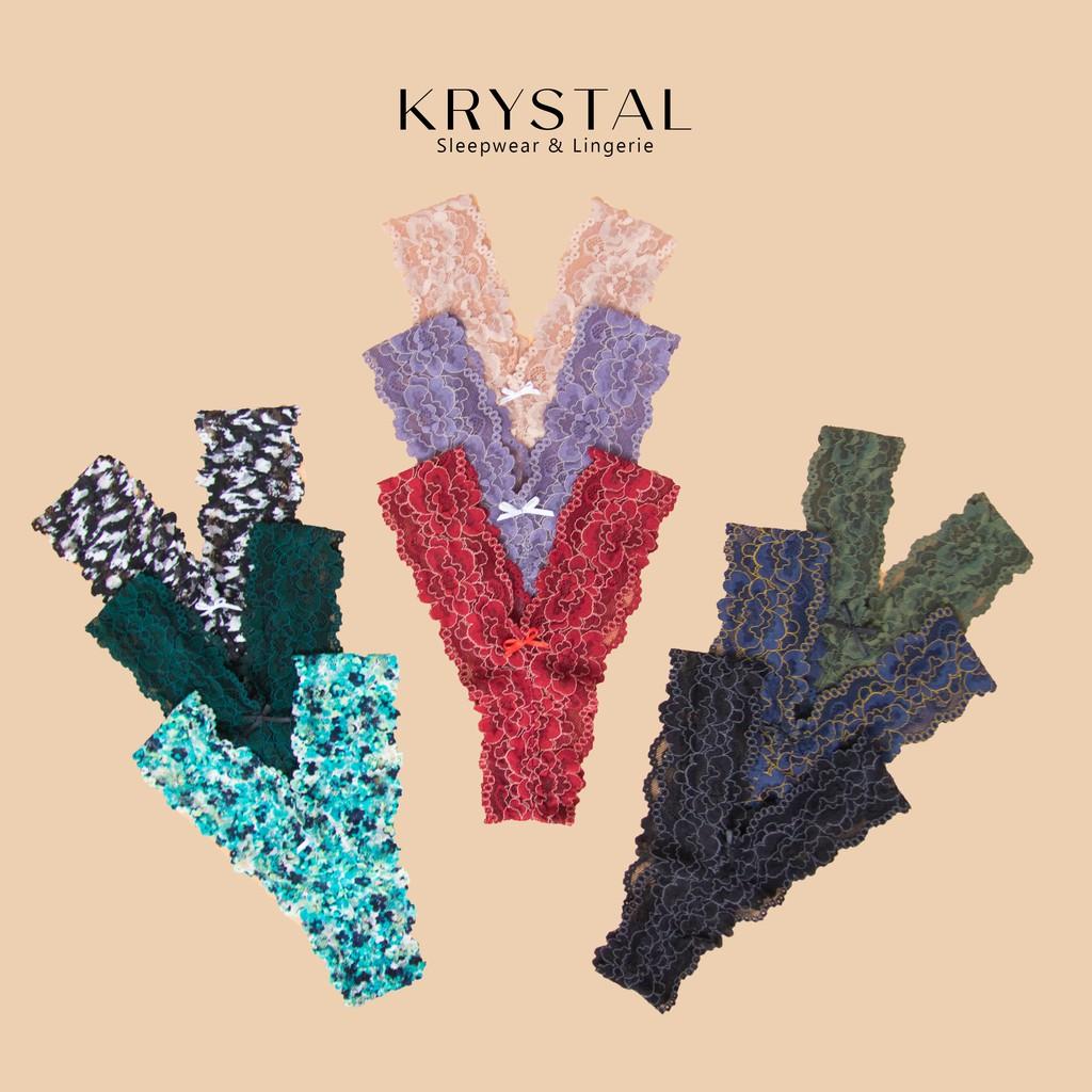 Quần lót ren lọt khe chữ Y sexy gợi cảm màu họa tiết hoa hồng KRYSTAL KQY02