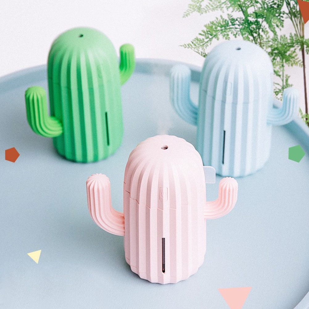 USB Rechargeable Moisturizing Mini Cactus Shape Home Mute Cool Mist Office LED Light Humidifier
