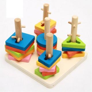 GIÁ SIÊU RẺ Bộ Wooden Toys Thả hình 3D đế vuông 5 trụ phukiengiadung ( Màu Ngẫu Nhiên ) DKTC201