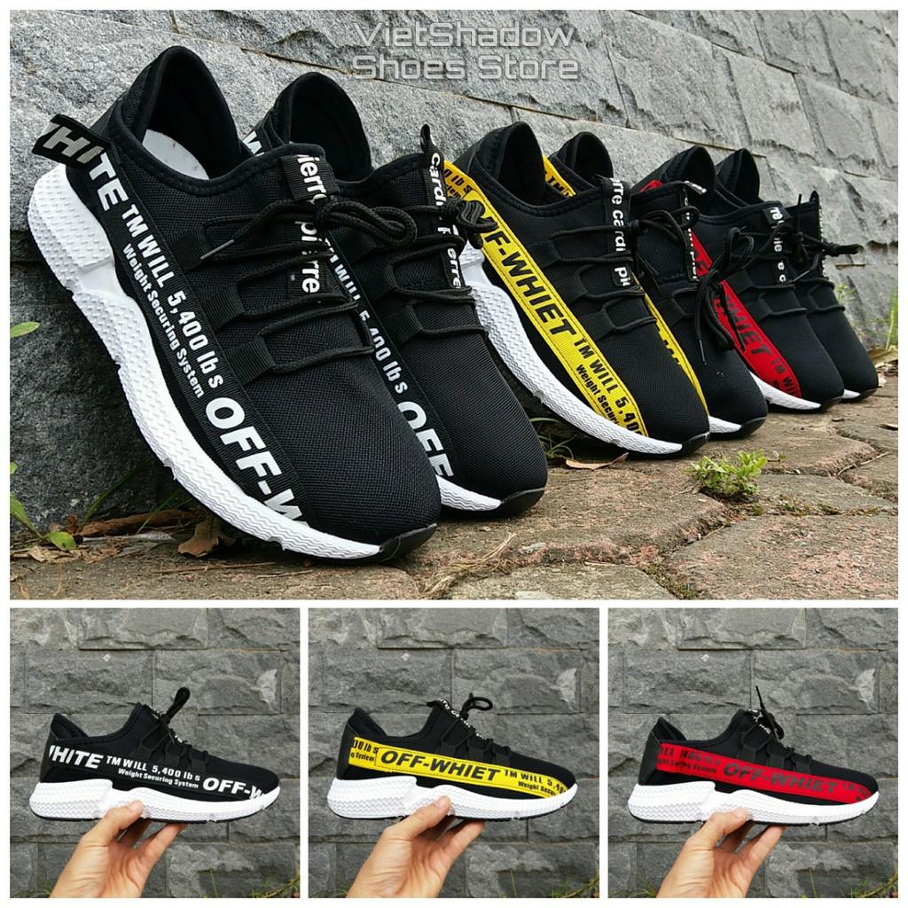 Sneakers nam 2018 - Giày thể thao nam 3 màu sọc đen, sọc vàng, sọc đỏ - Mã SP MX01