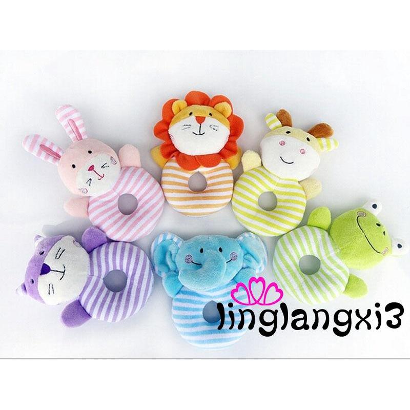 NNL-Baby Boy Toys- Soft Rattle and Sqeaker Set- Plush Blue Lamb- Sensory